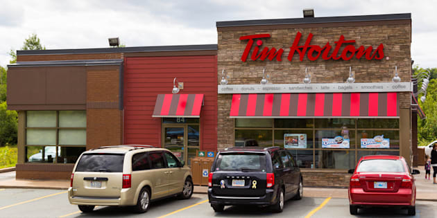 The outside of a Tim Hortons restaurant.