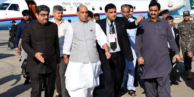 Rajnath Singh, second from left, arrives to attend a meeting of the South Asian Association for Regional Cooperation, in Islamabad, Pakistan, Aug. 3, 2016.  (AP Photo)