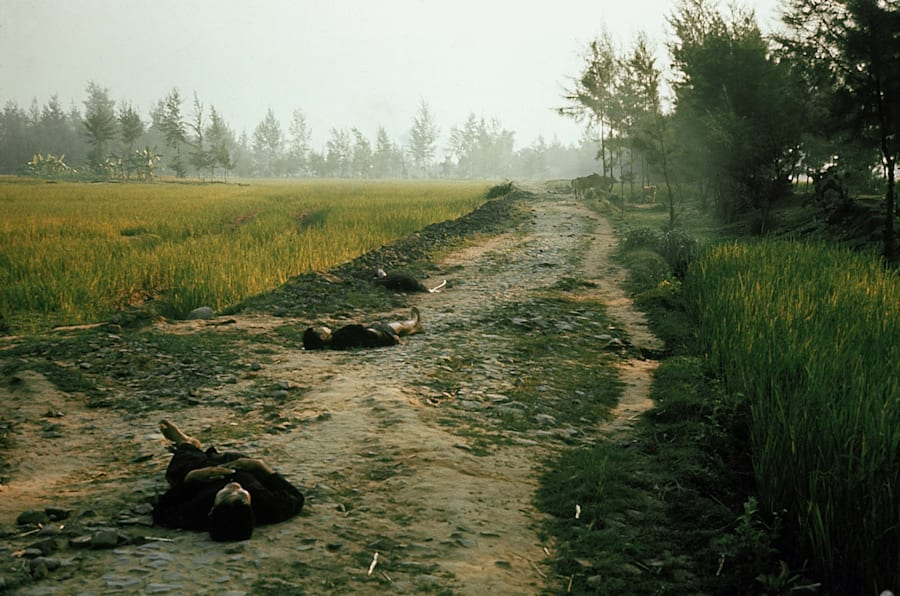 Vietnamese civilians killed by US Army soldiers during pursuit of Vietcong militia, as per order of Lieut. Wm. Calley Jr. (later court-martialed), an incident which later became known as the My Lai Massacre, on March 16, 1968 in My Lai, South Vietnam.  (Photo by Ronald S. Haeberle/The LIFE Images Collection/Getty Images)