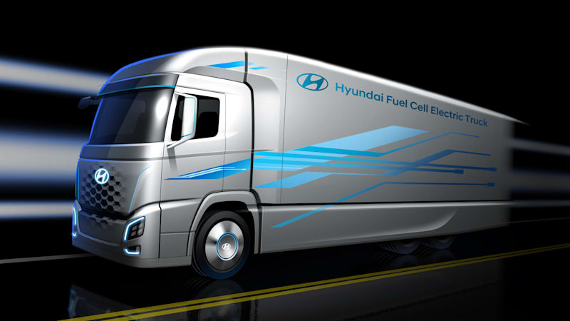 photo image Hyundai to unveil hydrogen fuel cell semi truck