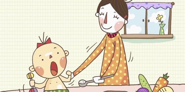 A mother feeding a baby food