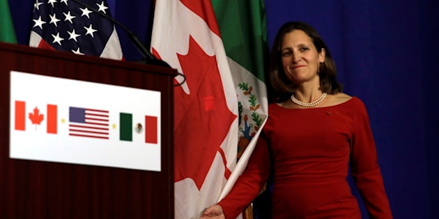 Foreign Affairs Minister Chrystia Freeland arrives at a news conference after a NAFTA trilateral ministerial press event in Washington on Oct. 17, 2017.