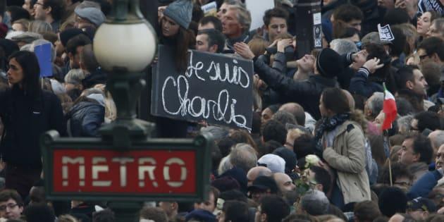 Pendant la marche du 11 janvier 2015 à Paris.