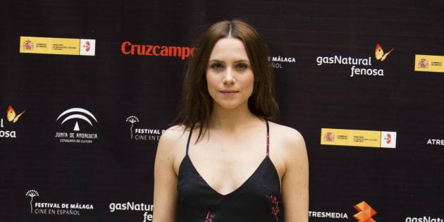 """La actriz Aura Garrido en el 'photocall' """"encuentro mesa de jóvenes actores """"durante la 20 edición del festival de cine de Málaga."""