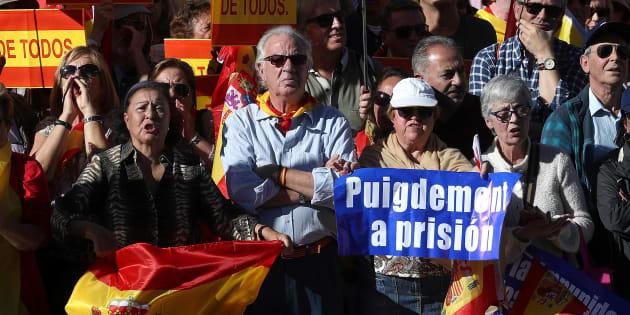 À Madrid, des milliers de manifestants demandent l'arrestation des responsables indépendantistes