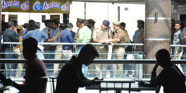 LUCKNOW, INDIA - MARCH 22: Lucknow Police run an anti-Romeo operation at Saharaganj mall, on March 22, 2017 in Lucknow, India.