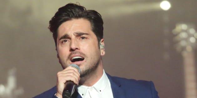 El cantante David Bustamante, durante un concierto el 28 de abril en León.