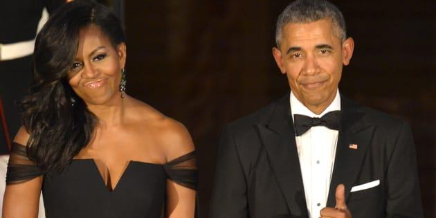 Michelle y Barack Obama en una cena de gala con el presidente Xi Jinping y su esposa Peng Liyuan en Washington, en septiembre de 2015.