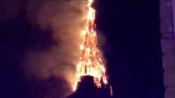 Un incendie impressionnant emporte le clocher d'une église à