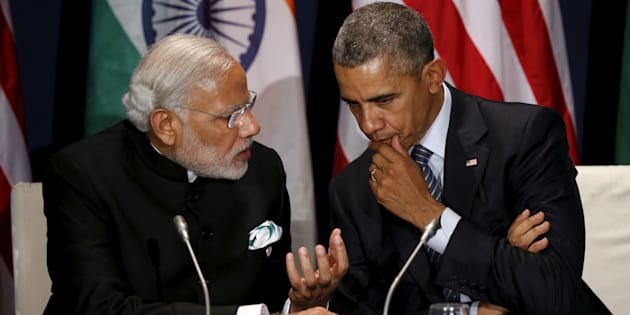 File photo of US President Barack Obama (R) with Indian Prime Minister Narendra Modi.