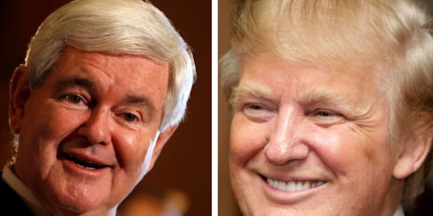 A combination photo shows U.S. Republican presidential candidate and former U.S. House Speaker Newt Gingrich (L) speaking in Des Moines, Iowa, December 21, 2011 and U.S. property magnate Donald Trump smiling during the inauguration of the Trump Ocean Club in Panama City July 6, 2011. Trump will endorse Gingrich in the race for the 2012 Republican presidential nomination, U.S. media reported on February 1, 2012. REUTERS/Jeff Haynes (L) and Alberto Lowe/Files  (ELECTIONS POLITICS ENTERTAINMENT REAL ESTATE BUSINESS)