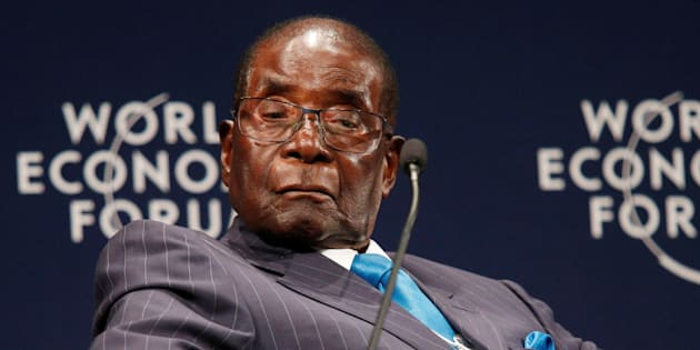 Zimbabwean President Robert Mugabe participates in a discussion at the World Economic Forum on Africa 2017.