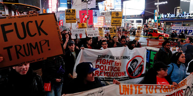 Protesters in Manhattans Union Square on Nov 9 rallied against Donald Trumps election.