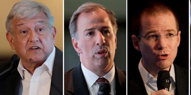 Los candidatos a la presidencia de México, de izquierda a derecha: Andrés Manuel López Obrador, José Antonio Meade, Ricardo Anaya y Margarita Zavala.
