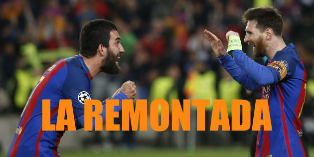 Lionel Messi et Arda Turan à la fin du match FC Barcelona vs Paris Saint-Germain le 8 mars 2017.