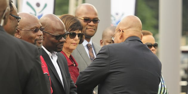 President Jacob Zuma greets the SACP's Solly Mapaila during the 24-year commemoration of Chris Hani's death and a wreath-laying ceremony on April 10 2017 in Boksburg, South Africa.
