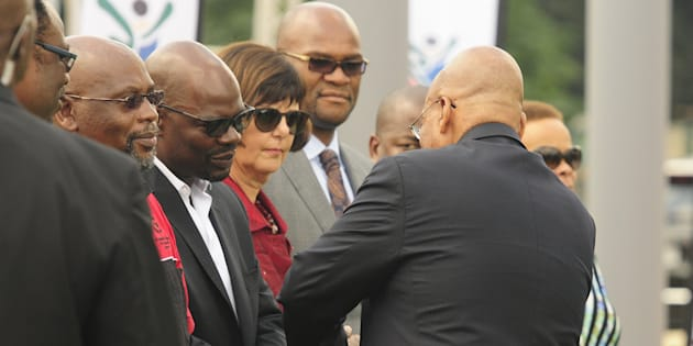 President Jacob Zuma greets SACPs Solly Mapaila during Chris Hanis 24th commemoration and wreath-laying ceremony on April 10, 2017 in Boksburg.
