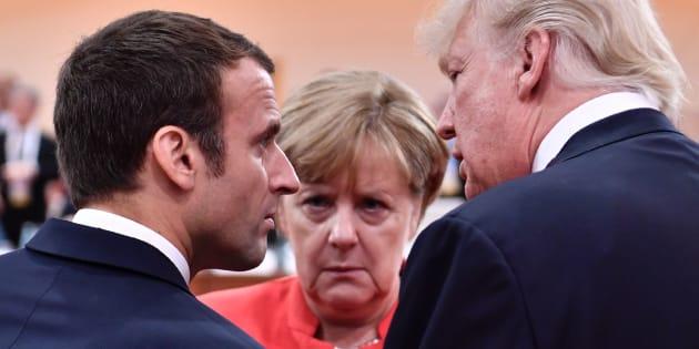 Donald Trump, Emmanuel Macron y Angela Merkel, en la reunión del G20 en Hamburgo del pasado julio.