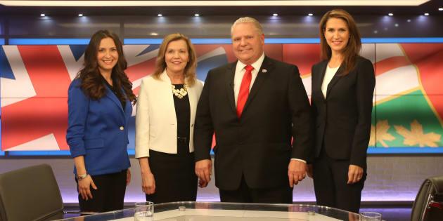 Les candidats Tanya Granic Allen, Christine Elliot, Doug Ford et Caroline Mulroney.