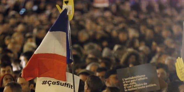 Lors du rassemblement contre l'antisémitisme, place de la République, le 19 février 2019 à Paris.