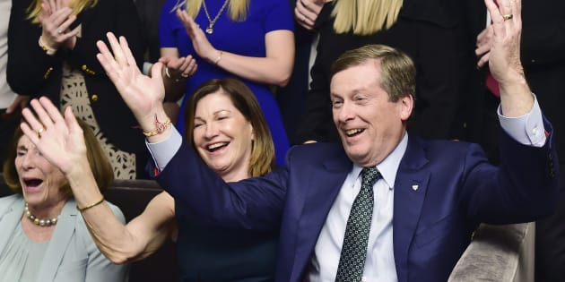 John Tory and his wife Barbara Hackett celebrate the victory in Toronto on Oct. 22, 2018.