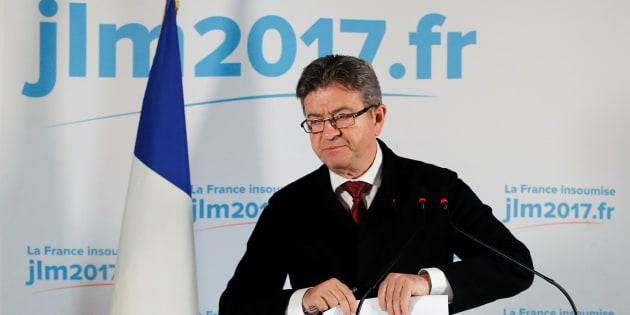 Jean-Luc Mélenchon à son QG après l'annonce des premières estimations.