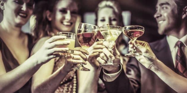 Five friends celebrating a happy event.