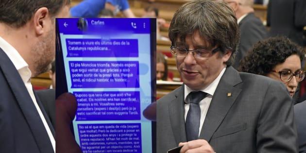"""Catalogne: Puigdemont plaide le """"moment de doute"""" après la diffusion de sms privés où il disait jeter l'éponge"""