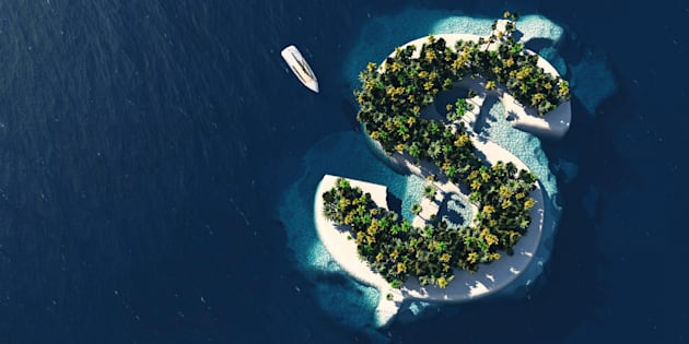 File illustration of a dollar sign-shaped island.