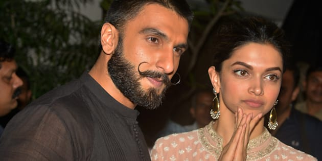 MUMBAI, INDIA  DECEMBER 17: Deepika Padukone and Ranveer Singh at the Special Screening of their upcoming movie Bajirao Mastani in Mumbai.(Photo by Milind Shelte/India Today Group/Getty Images)