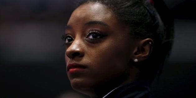 Simone Biles durante competição World Gymnastics Championships na Hydro arena em Glasgow, Escócia, em 2015.