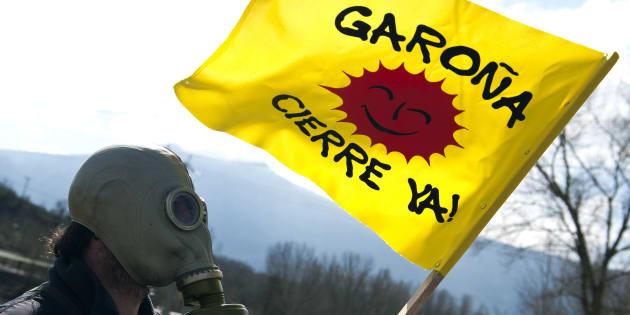 Un manifestante con una máscara y una bandera en los alrededores de la central nuclear de Garoña (Burgos).
