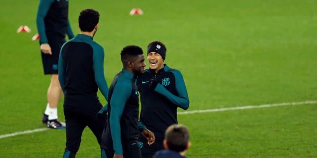 Neymar et ses coéquipiers au Parc des Princes le 13 février 2017.