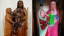 15世紀の貴重な聖母子像、たばこ屋の女性がケバケバのピンクに「修復」してしまう