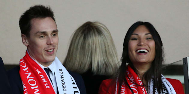Louis Ducruet et Marie Chevalier au Stade Louis II de Monaco le 3 mai 2017.