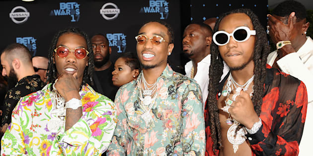 LOS ANGELES, CA - JUNE 25:  Quavo, Offset and Takeoff of Migos attend the 2017 BET Awards at Microsoft Theater on June 25, 2017 in Los Angeles, California.  (Photo by Jason LaVeris/FilmMagic)