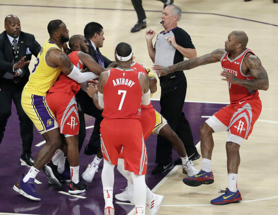 Brawl mars L.A Lakers home opener against Rockets