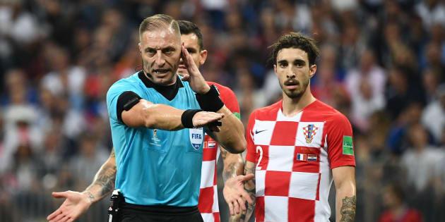 L'arbitre argentin Nestor Pitana lors de France-Croatie à Moscou le 15 juillet 2018.