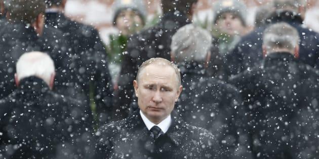 El presidente ruso, Vladimir Putin, durante un acto ante la tumba del soldado desconocido del Kremlin, en Moscú, el pasado 23 de febrero.
