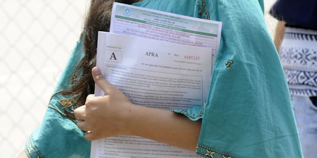 Representative image. Students coming out after appearing the CBSE National Eligibility-Cum-Entrance Test (NEET) medical entrance exam, on May 7, 2017 in Noida, India.
