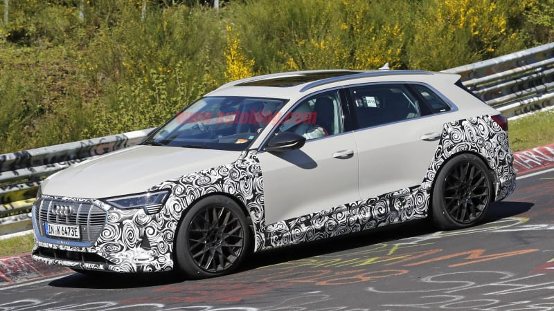 audi e tron performance variant spied running around the nurburgringa faster electric crossover appears to be in the works