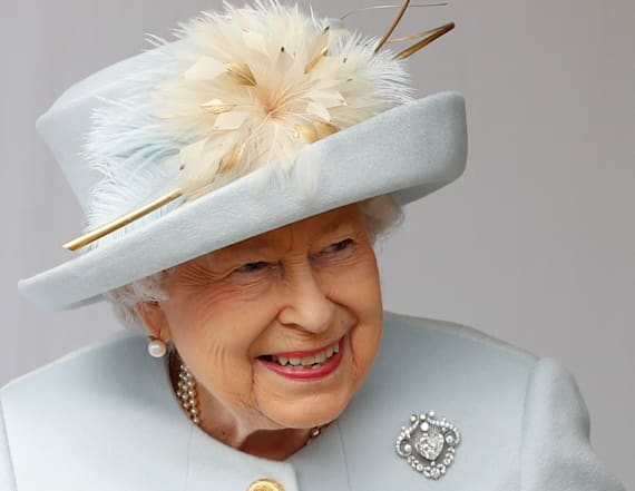 Queen is regal in blue to celebrate Princess Eugenie
