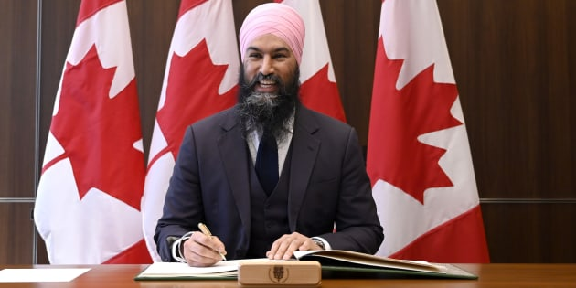 NDP Leader Jagmeet Singh poses for photos after being sworn in as MP for Burnaby South during a ceremony in Ottawa on March 17, 2019.