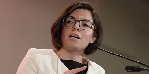 Niki Ashton speaks as she participates in the first debate of the federal NDP leadership race with Guy Caron, Charlie Angus and Peter Julian, in Ottawa, Ont. on Sunday, March 12, 2017.