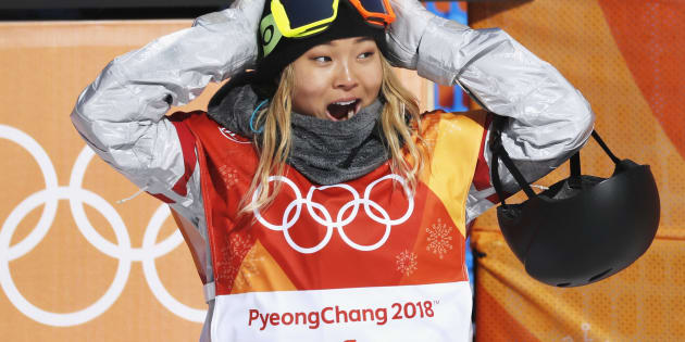 Snowboarding - Pyeongchang 2018 Winter Olympics - Women's Halfpipe Finals - Phoenix Snow Park - Pyeongchang, South Korea - February 13, 2018  - Chloe Kim of the U.S. reacts. REUTERS/Jorge Silva