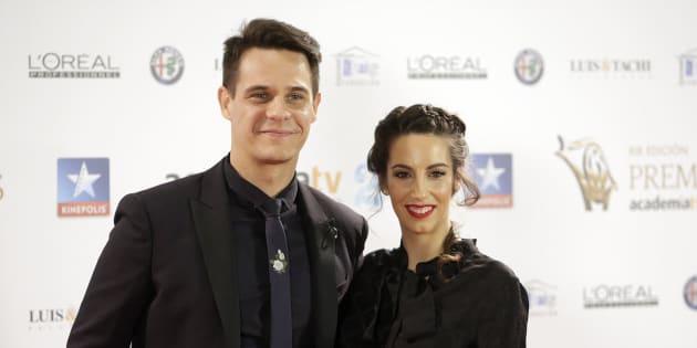 El presentador Christian Gálvez y Almudena Cid, en los premios Iris de la Academia de la Televisión el 24 de octubre de 2017.