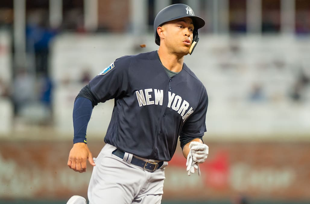 dbe20182e8b SEE IT  Giancarlo Stanton crushes laser home run in first at-bat ...