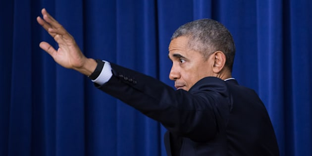 President Barack Obama leaves the stage, after speaking at the My Brother's Keeper Summit, in the South Court Auditorium of the Eisenhower Executive Office Building of the White House in Washington, DC  on December 14, 2016. (Photo by Cheriss May/NurPhoto via Getty Images)