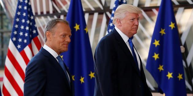 Donald Tusk et Donald Trump à Bruxelles le 25 mai.