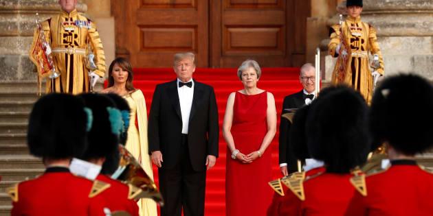 Melania Trump, Donald Trump, Theresa May et son époux Philip.